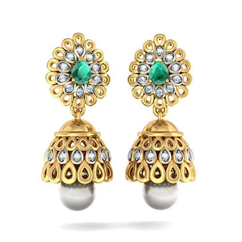 Серьги Kiev Jewelry Regal Mayura с жемчугом инкрустированные бриллиантами и изумрудами 002629-1051517, фото