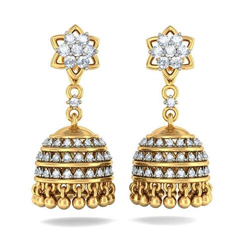 Золотые серьги Kiev Jewelry Almas Detachable с бриллиантами 002633-1051527, фото