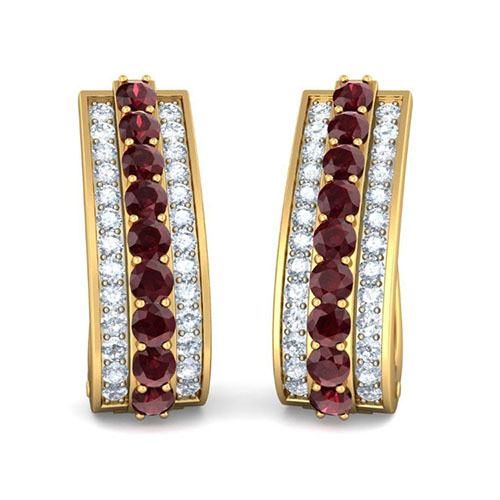 Золотые серьги Kiev Jewelry Fashion Finesse с бриллиантами и родолитами 002657-1051536, фото