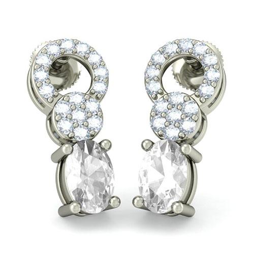 Серьги из белого золота Kiev Jewelry Orbicular Touch с крупным сапфиром и бриллиантами 002659-1051543, фото