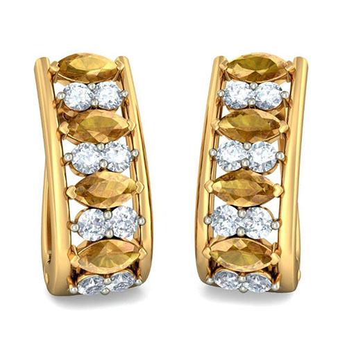 Золотые серьги Kiev Jewelry Charmed Brilliance с бриллиантами и сапфирами 002672-1051587, фото