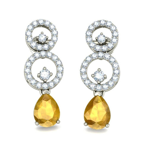Серьги Kiev Jewelry Classic Flair с цитринами и бриллиантами 002679-1051611, фото