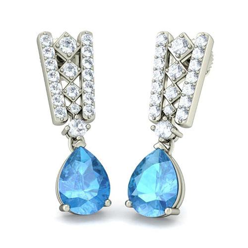 Серьги из белого золота Kiev Jewelry Notable Artistry с топазом и бриллиантами 002683-1051624, фото