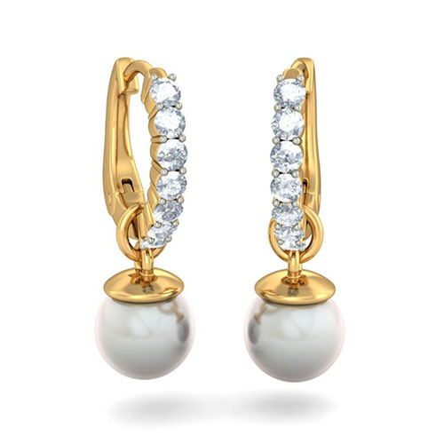 Золотые серьги Kiev Jewelry Nixie с бриллиантами и жемчугом 002737-1051705, фото