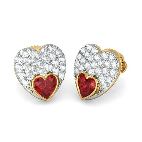 Золотые серьги в форме сердца Kiev Jewelry Veidah с бриллиантами и гранатом 002864-1051777, фото