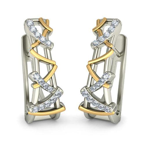 Золотые серьги Kiev Jewelry Alethia с бриллиантами 002882-1051828, фото
