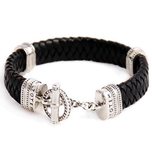 Плетеный широкий кожаный браслет TOTEM Adventure Jewelry Toggle Oval, фото