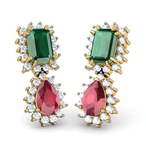 Серьги инкрустируванные бриллиантами Kiev Jewelry Detachable Kalakriti с изумрудами и рубинами 003001-1052012, фото