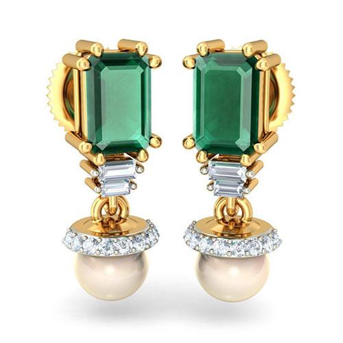 Серьги Kiev Jewelry Paragon с бриллиантами изумрудами и жемчугом 003019-978592, фото