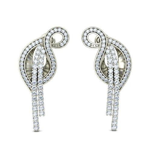 Серьги из белого золота Kiev Jewelry Sarvashretha с бриллиантаим 003030-1052049, фото