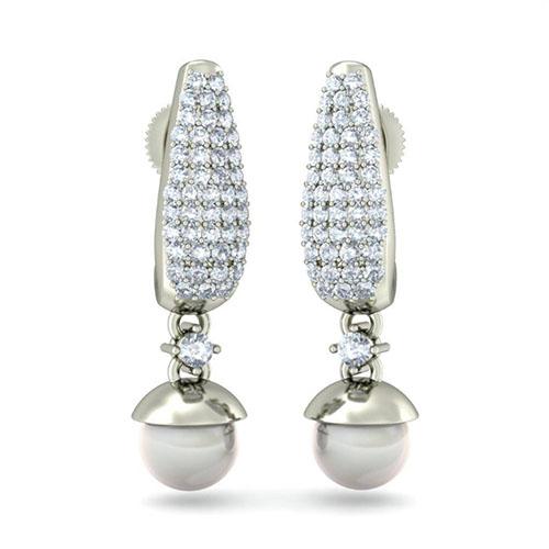 Серьги из белого золота Kiev Jewelry Serene Appeal с жемчугом и бриллиантами 003135-1085946, фото