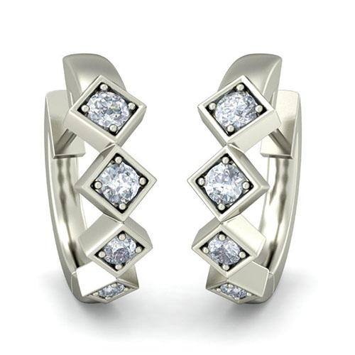 Серьги из белого золота Kiev Jewelry Miles to Go с бриллиантаим 003171-1113004, фото