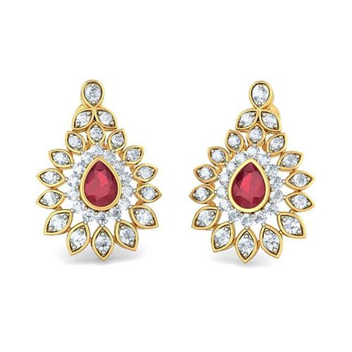 Золотые серьги Kiev Jewelry Sundar Sakhi с бриллиантами и рубином 003213-1138052, фото