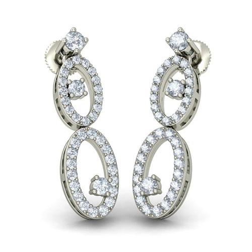 Серьги из белого золота Kiev Jewelry Amrit Dhaara с бриллиантами 003215-1138079, фото