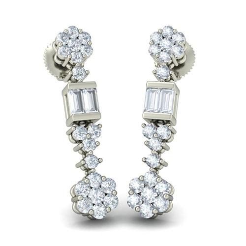 Серьги из белого золота Kiev Jewelry Komal Prasoon с бриллиантами 003217-1138108, фото