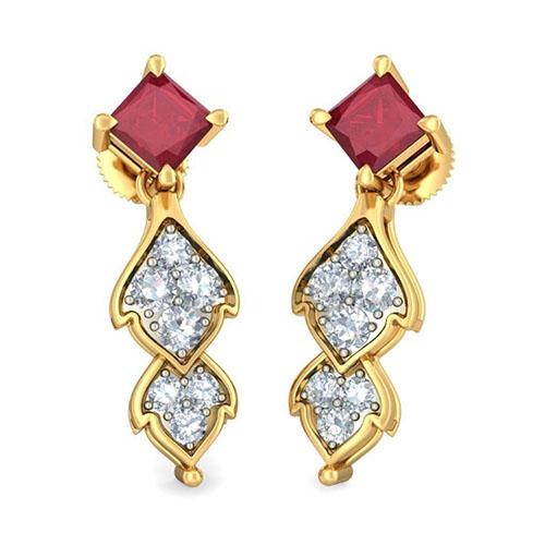 Серьги Kiev Jewelry Vijaya Aakriti с рубинами и бриллиантами 003222-1138181, фото