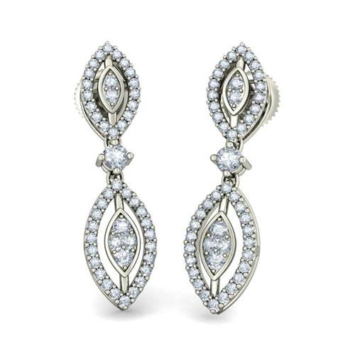 Серьги из белого золота Kiev Jewelry Somya Shobha с бриллиантами 003223-1138196, фото