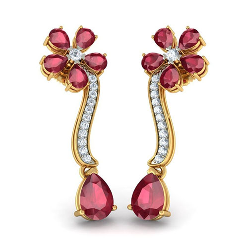 Серьги Kiev Jewelry Suman Sundari инкрустированные рубинами и бриллиантами 003230-1138306, фото