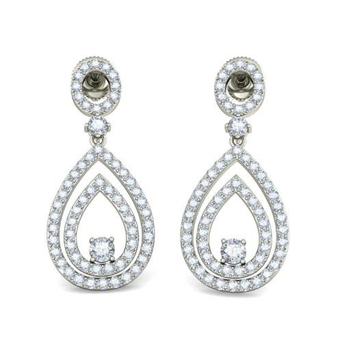 Серьги из белого золота Kiev Jewelry Usha Kosh с бриллиантами 003291-1175381, фото