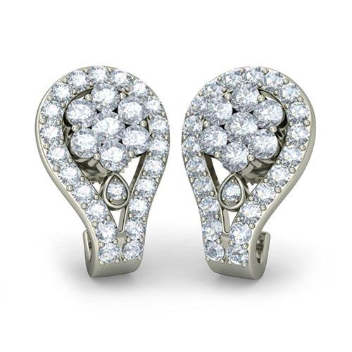 Серьги из белого золота Kiev Jewelry Passoa с бриллиантами 003339-1211462, фото