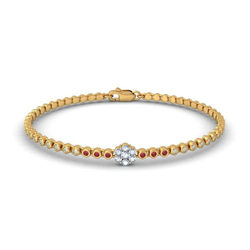 Золотой браслет Kiev Jewelry Dainty Diva с фианитами 003384-1249521-f, фото