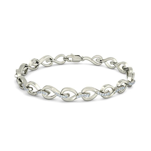Золотой браслет Kiev Jewelry Leaf Lace с фианитами 003389-1249572-f, фото