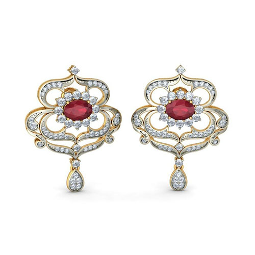 Золотые серьги Kiev Jewelry Somalakshmi с инкрустацией бриллиантами и рубинами 003652-1404051, фото