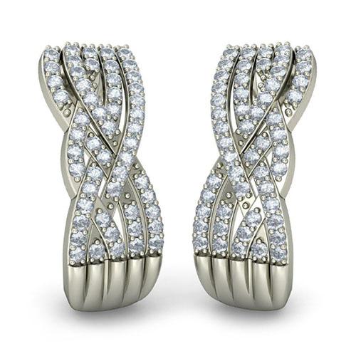 Серьги из белого золота Kiev Jewelry Malibu с бриллиантами 003682-1446358, фото