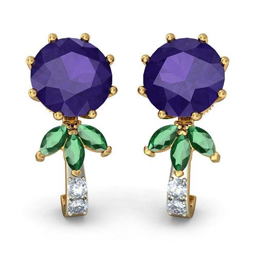 Серьги с бриллиантами Kiev Jewelry Chimayo сиреневым иолитом и изумрудами 003697-1446583, фото