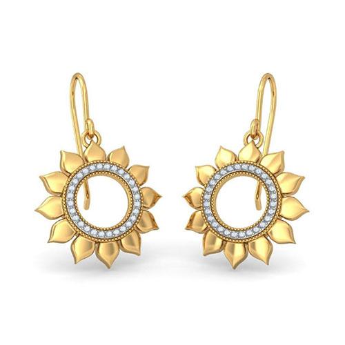 Серьги Kiev Jewelry Sunflower of Loyalty с бриллиантами 004186-1661477, фото