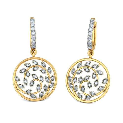 Золотые серьги-подвески Kiev Jewelry Cordial Leaves с бриллиантами 004846-2215664, фото
