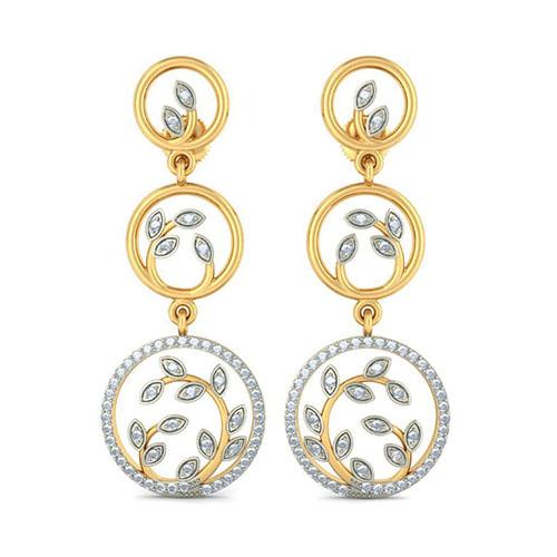Шикарные серьги-подвески Kiev Jewelry Thoughtful Leaves с бриллиантами 004847-2215680, фото