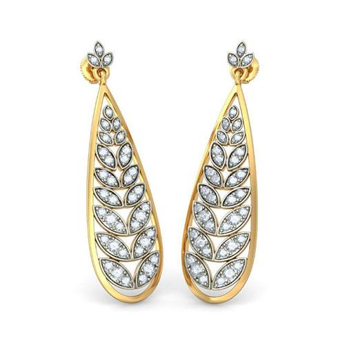 Серьги-подвески Kiev Jewelry Playful Leaves с бриллиантами 004849-2215712, фото
