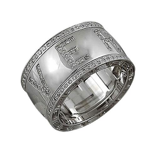 Широкое кольцо Versace с крупными буквами, фото