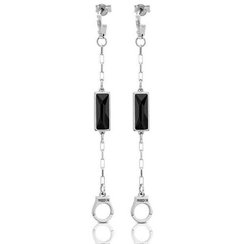 Серьги-пусеты Nomination Freedom наручники с черными кристаллами Swarovski длинные, фото