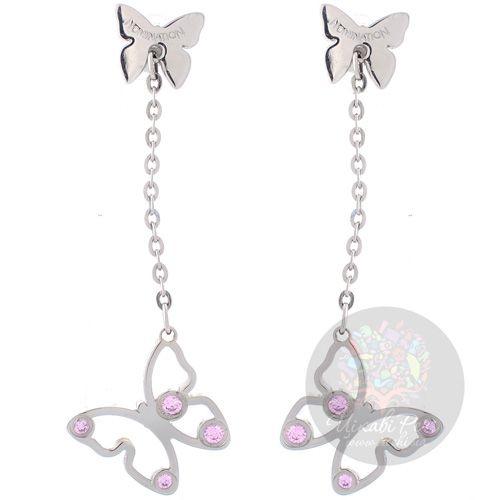 Длинные серьги-пусеты Nomination Butterfly с розовыми цирконами Swarovski, фото
