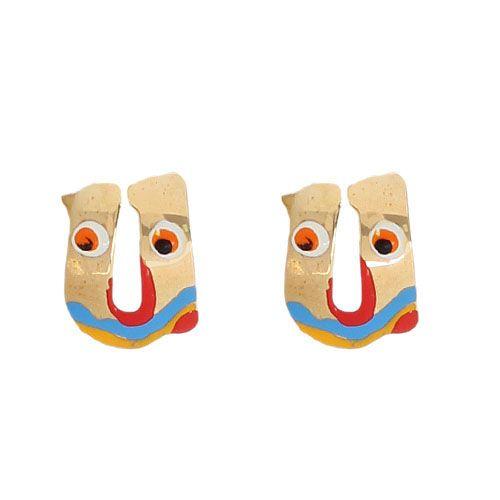 Серьги-пусеты Vai в виде английской буквы U с разноцветной эмалью, фото