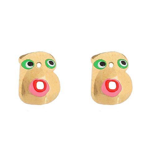 Серьги-пусеты Vai в виде английской буквы B с разноцветной эмалью, фото
