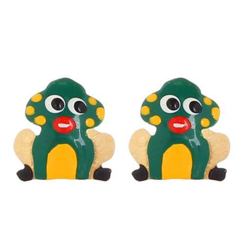 Серьги-пусеты Vai Лягушки с разноцветной эмалью, фото