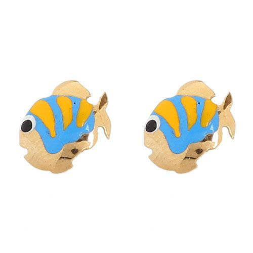 Серьги-пусеты Vai Рыбки с разноцветной эмалью, фото
