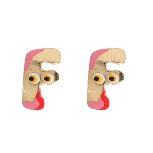 Серьги-пусеты Vai в виде английской буквы F с разноцветной эмалью, фото