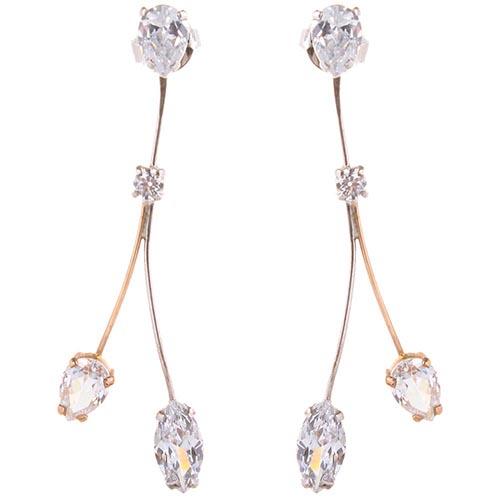 Ажурные серьги-гвоздики Campos с бриллиантами и цирконием, фото