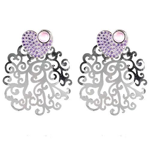 Крупные серьги Bassani из серебра с фиолетовым цирконием, фото