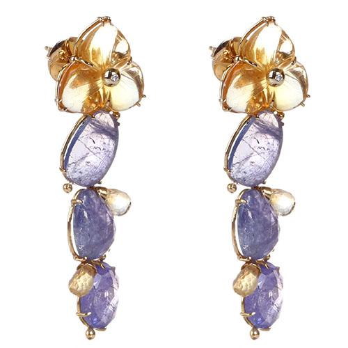 Золотые серьги с бриллиантами Olga Veisberg и цитринами, фото
