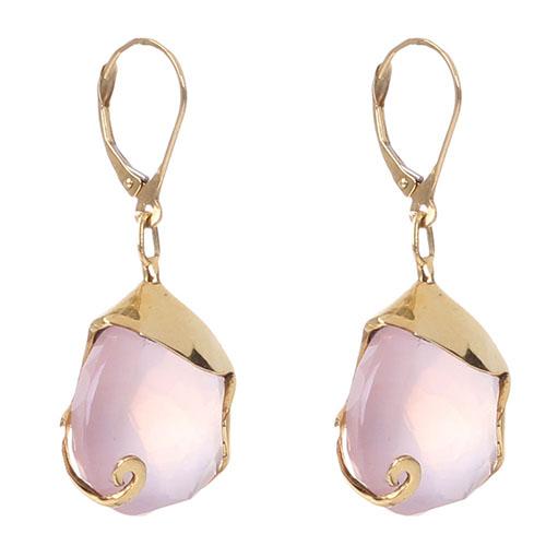 Золотые серьги в форме капелек  Olga Veisberg с розовым кварцем, фото