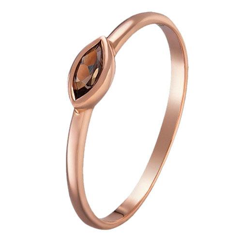 Кольцо Sova Акварель из красного золота с дымчатым кварцем, фото