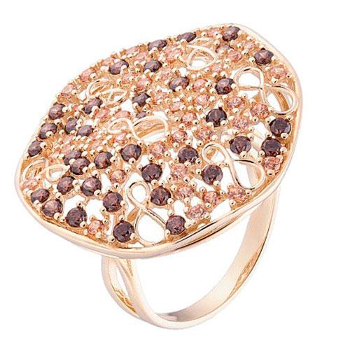 Перстень Sova Merezhyvo из желтого золота с фианитами, фото