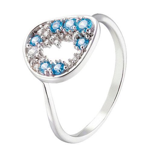Золотое кольцо Sova Merezhyvo с белыми и голубыми фианитами, фото