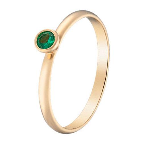 Кольцо с изумрудом Sova Акварель из желтого золота, фото