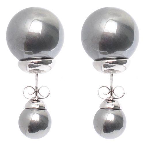 Асимметричные серьги-гвоздики серебристо-графитовые родированные, фото